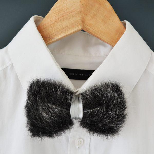 su wen fake fur bow tie